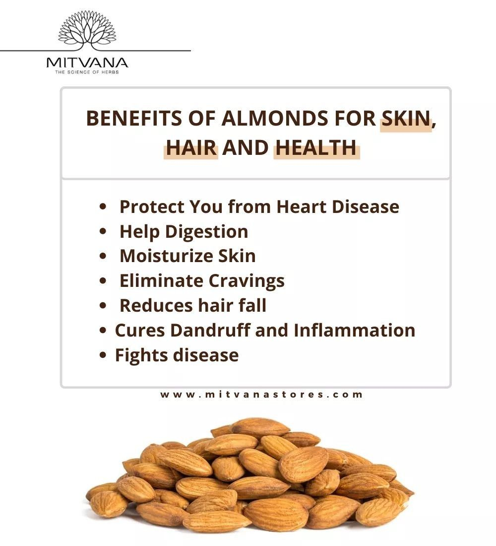 Benefits Of Almonds For Skin Hair And Health Health Benefits Of Almonds Almond Benefits Healthy Benefits