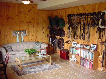 I Like That There Are Book Shelves In The Tack Room I Think Ryan Would Appreciate Having All My Horse Books Tack Room Organization Tack Room Horse Tack Rooms