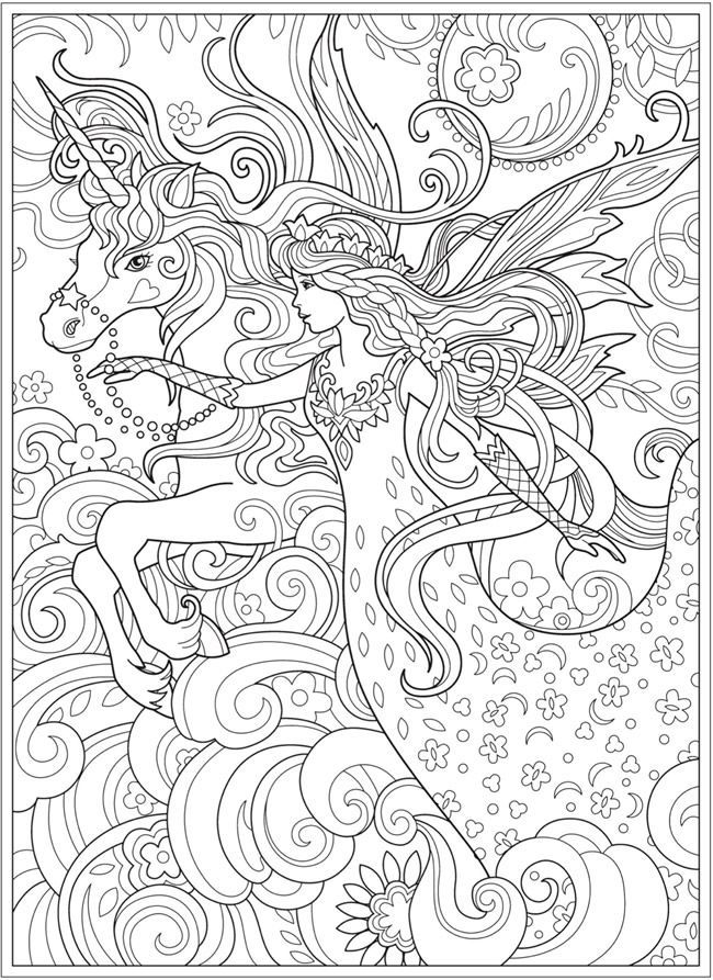 coloring page fairy princess and unicorn coloring