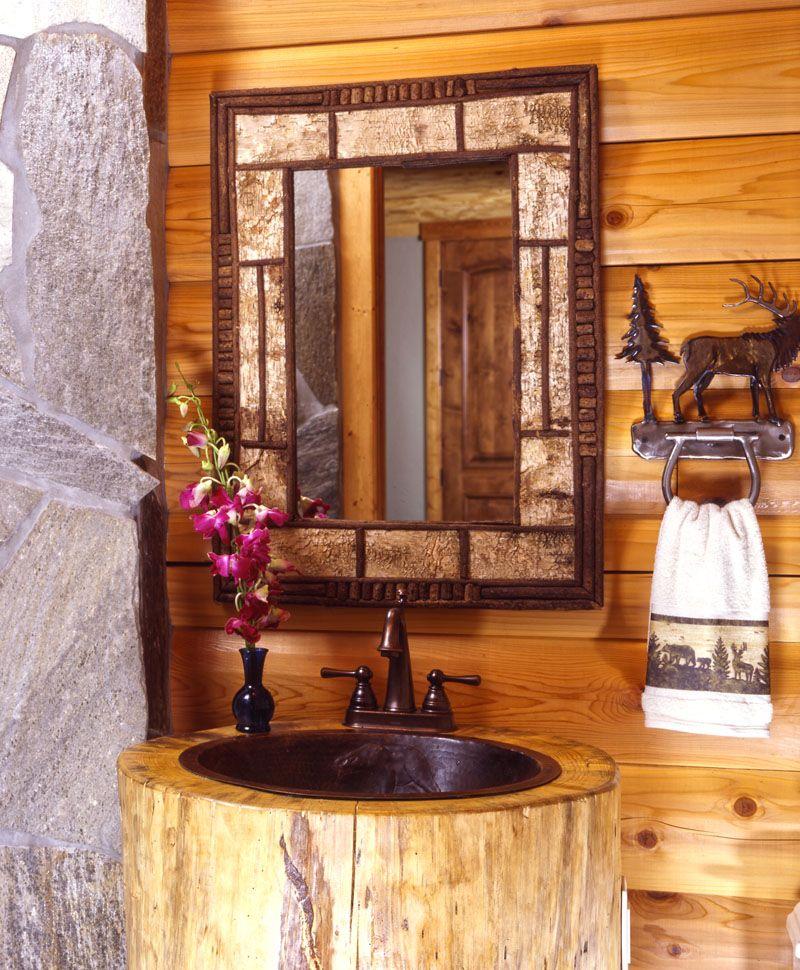 Log home bathroom ideas like this bebe 39 cabin for Ideas decorativas home banos