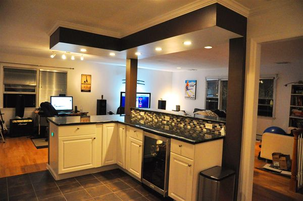 recessed lights in soffit; soffit over counter only, not walkways