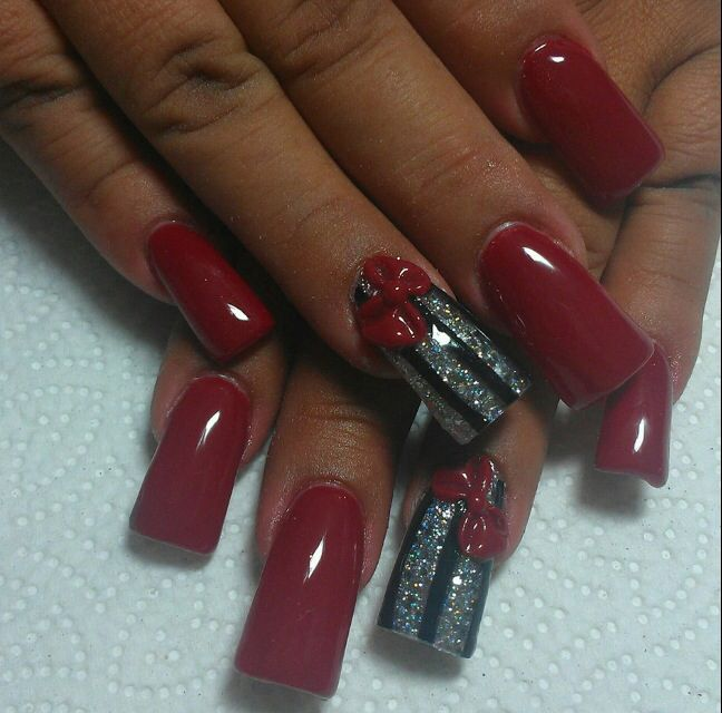 Pretty red and silver glitter nail art design with a bit of a flare ...