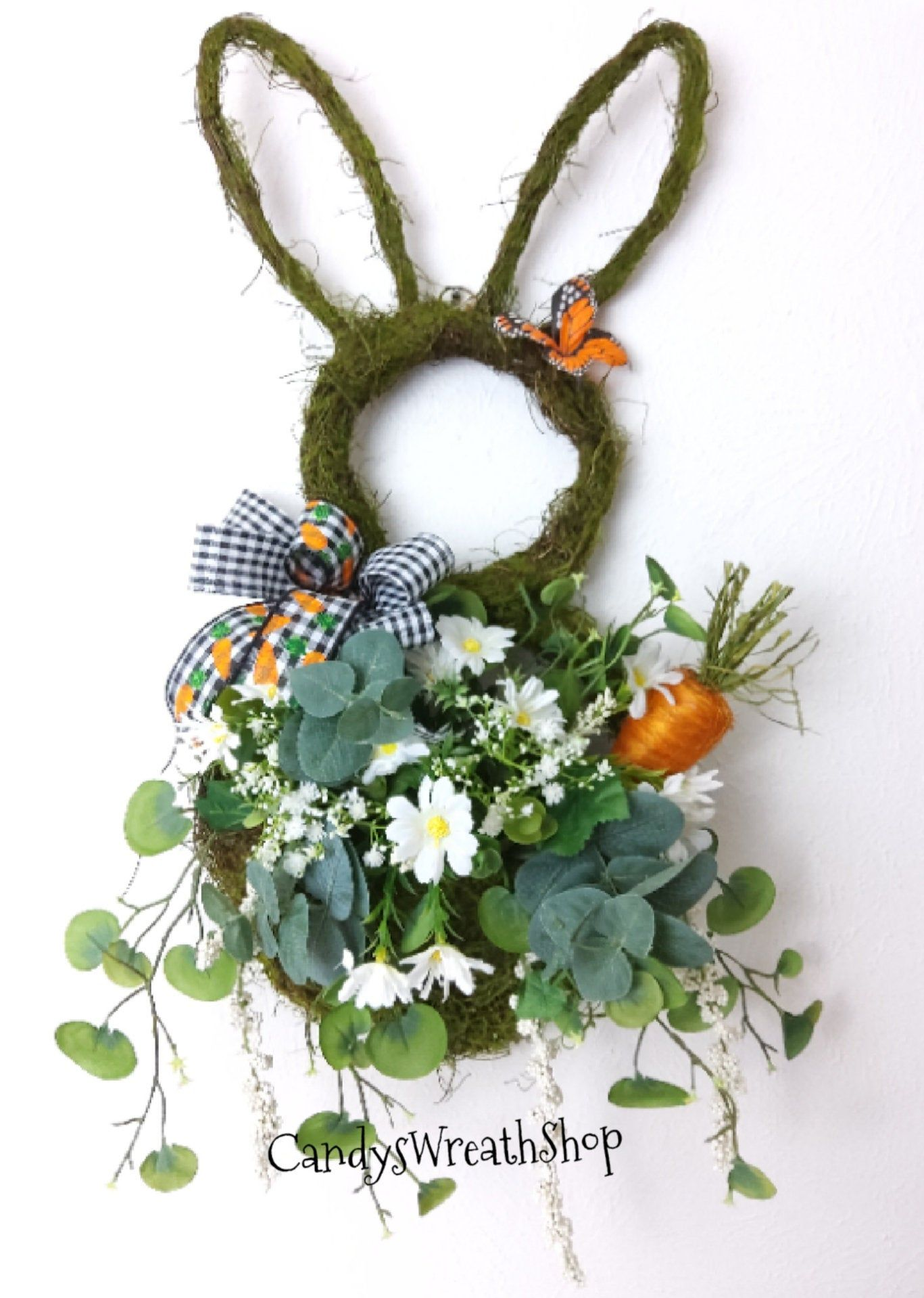 Photo of Easter Wreath, Bunny Wreath, Bunny Grapevine, Easter Decor, Floral Bunny Wreath, Easter Bunny, Rabbit Wreath, Easter Floral Grapevine