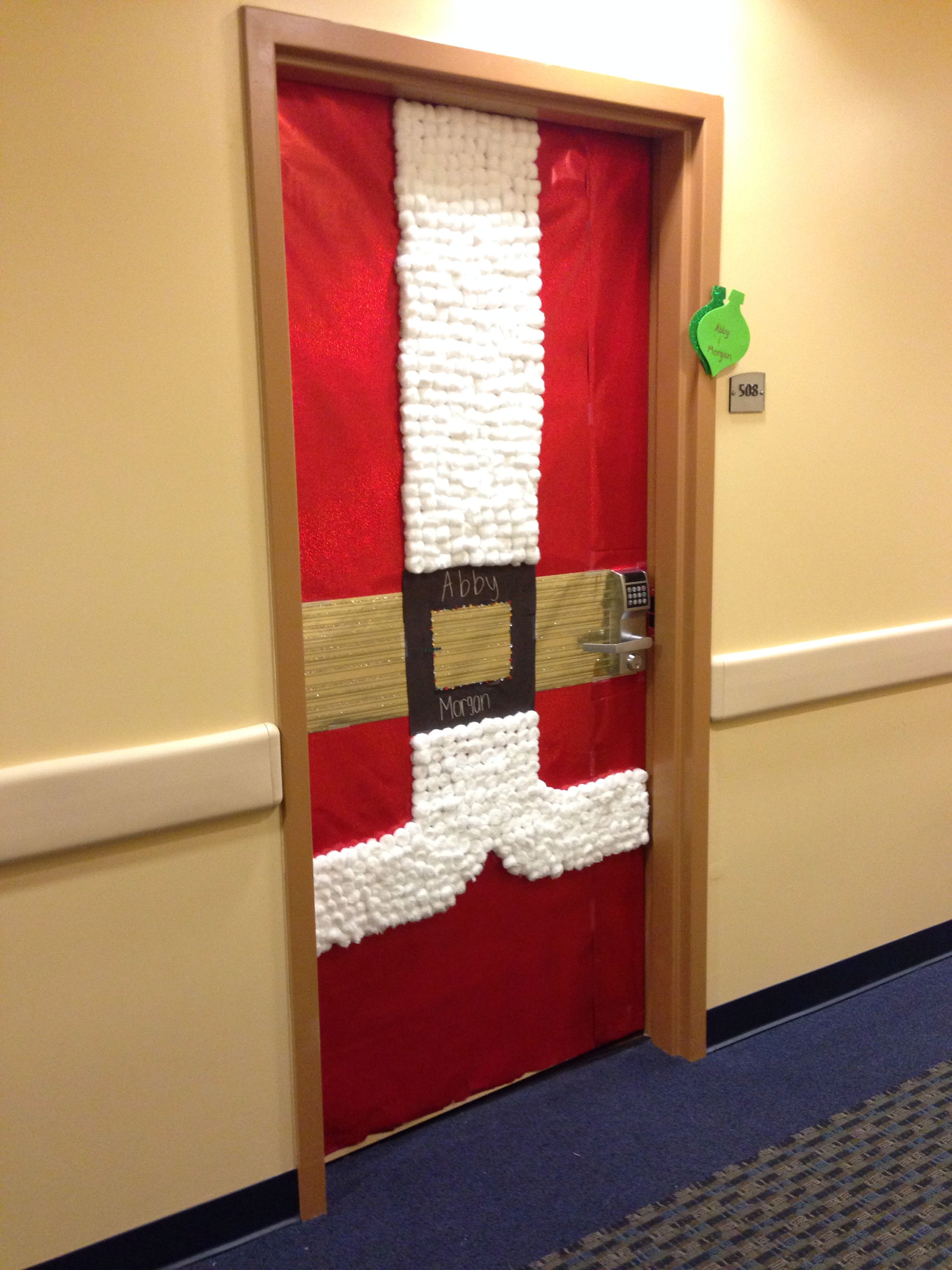 College Door Decorations Santas Suit Tis The Season