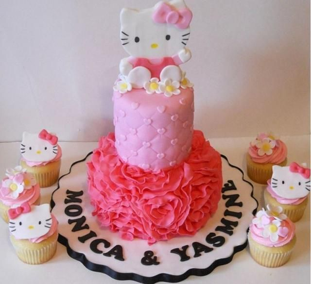 Hello Kitty Tiered Birthday Cakes images of tier hello kitty pink