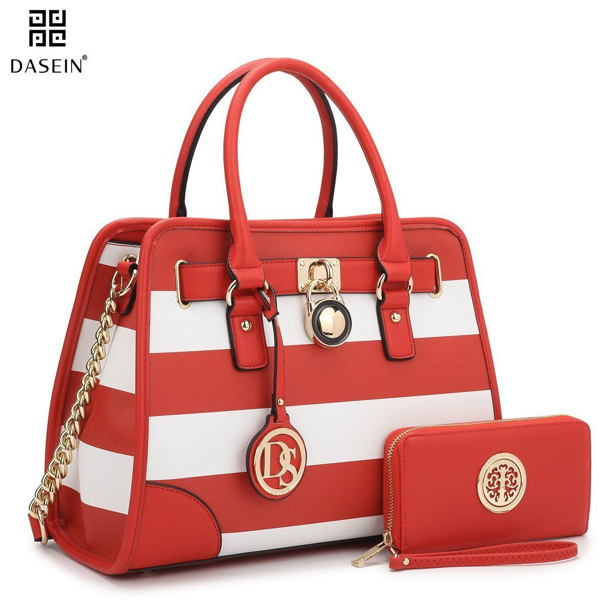 Image result for Dasein Women's Designer Handbags Padlock Belted Satchel Bags Top Handle Handbag Purse Shoulder Bag w/Matching Wallet