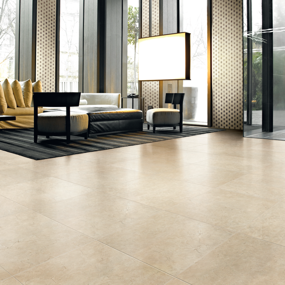 We Love Happy Floor S Crema Marfil Tile Because Of Its Seamless Look And Their Facility To Clean Living Room Tiles Marble Interior Floor Tile Design