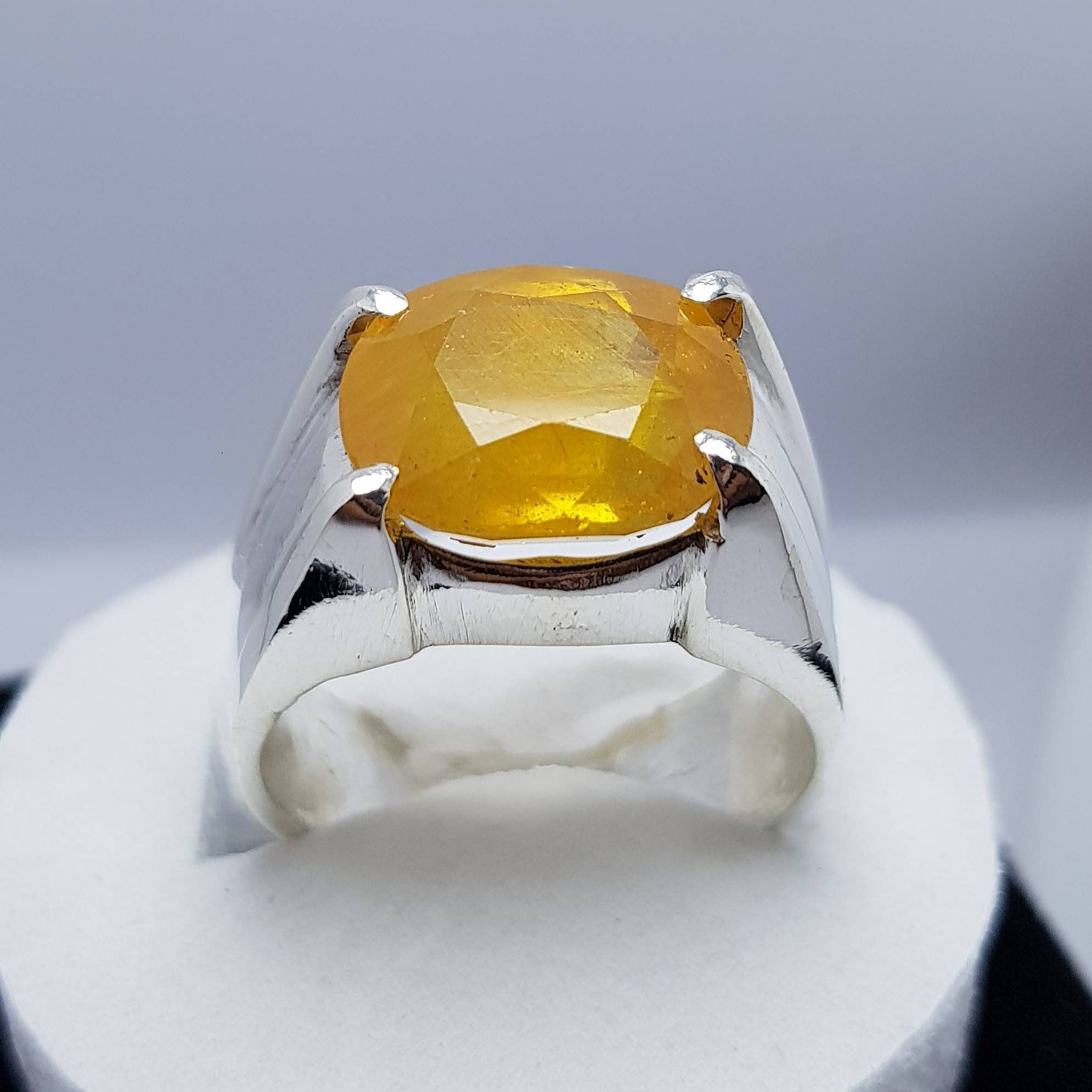 Anniversary Gift. 925 Sterling Silver Natural Yellow Sapphire 3 Stone In 7 Carat Ring Handmade Ring For Men And Woman