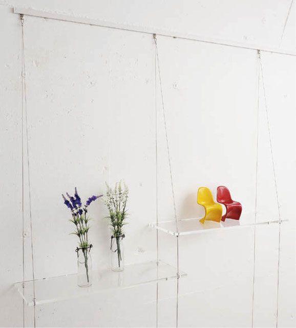 Acrylic Wire Hanging Shelf Acrylic Furniture Acrylic Decor Acrylic Shelf