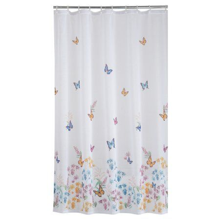 Mainstays Butterfly Fabric Shower Curtain Image 2 Of 4 Curtains Walmart