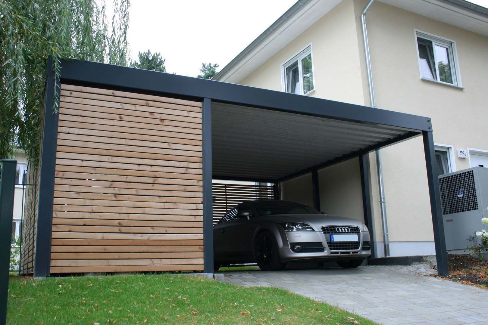 design metall carport aus holz stahl mit ger teraum. Black Bedroom Furniture Sets. Home Design Ideas