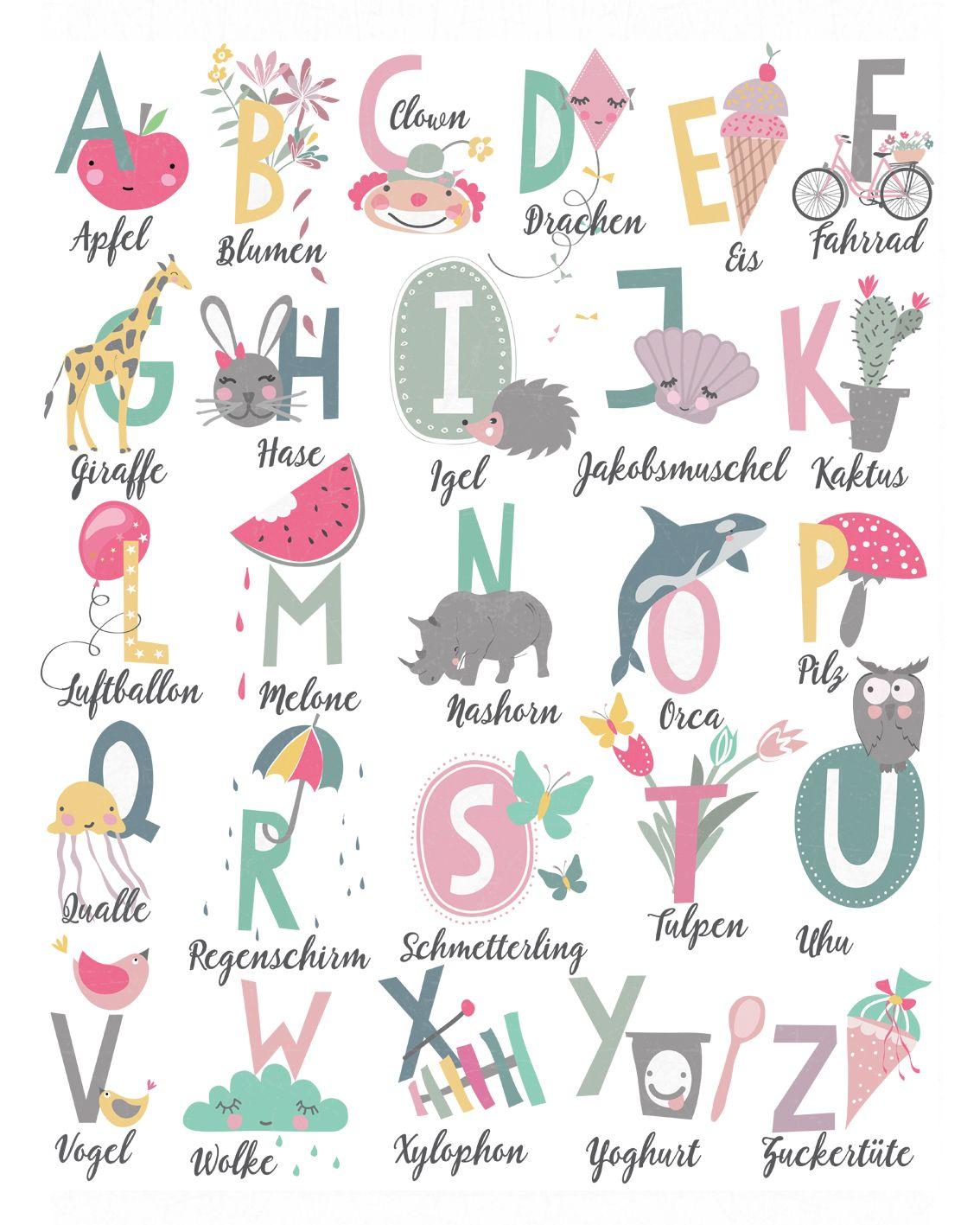 Alphabet Poster für meine kleine Nichte zur Schuleinführung, Größe 40 x 50 cm