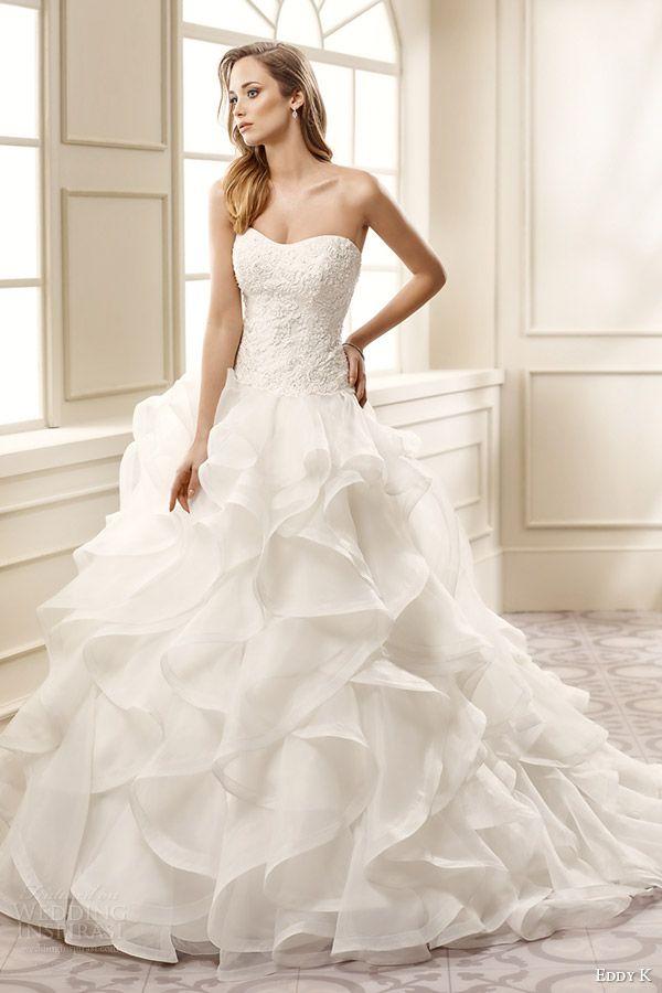 Trendy eddy k bridal strapless semi sweetheart lace bodice ruffle skirt a line wedding dress