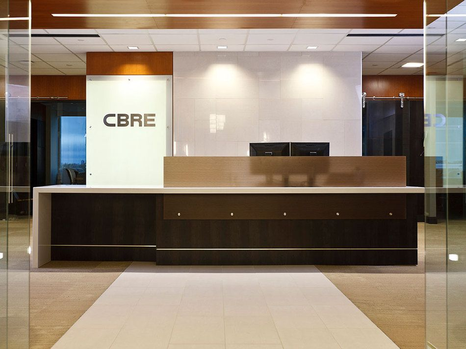 Cbre installations 3form reception desk receptionist for Office counter design