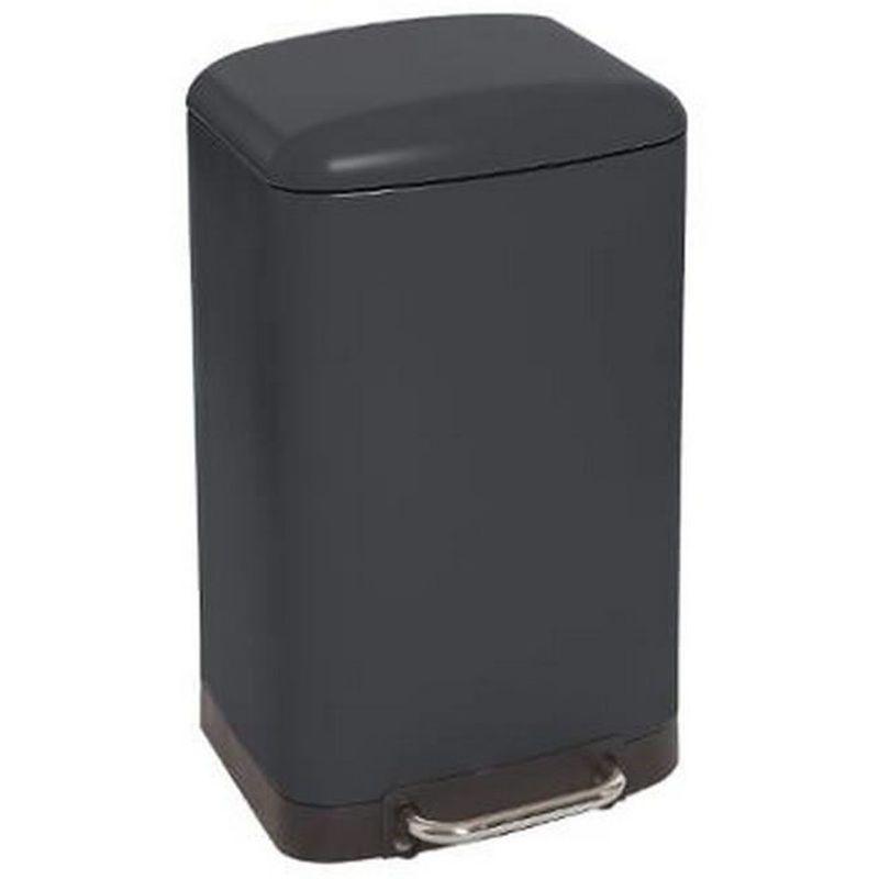 Poubelle Rectangulaire A Pedale Coloris Noir 30 Litres Pegane