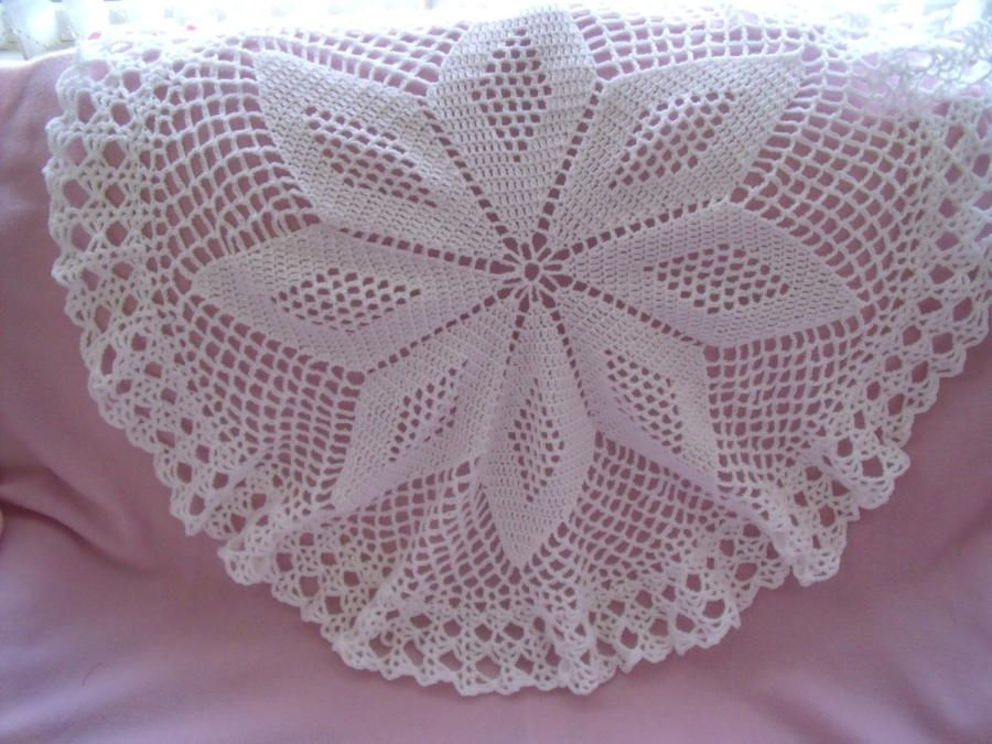 Star Design Circular Heirloom Baby Shawl Crochet Creation By
