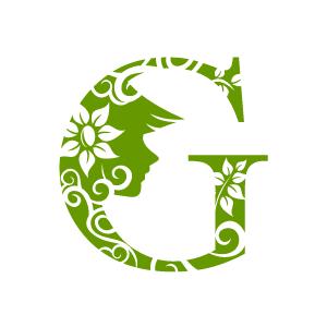 Flower Clipart - Green Alphabet G with White Background