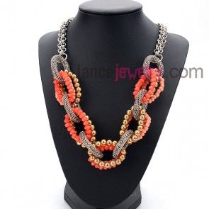Fashion red color necklace with many bead rings