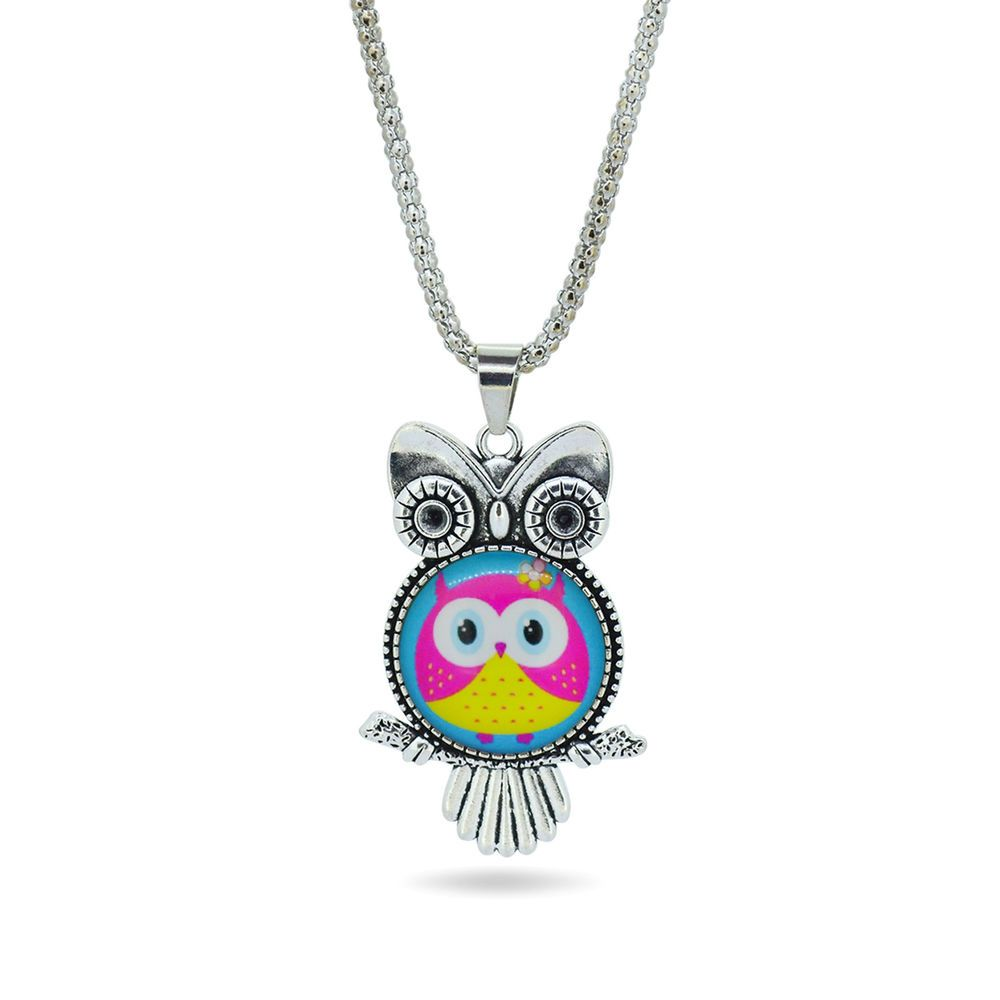 owl glass cabochon necklace OWL