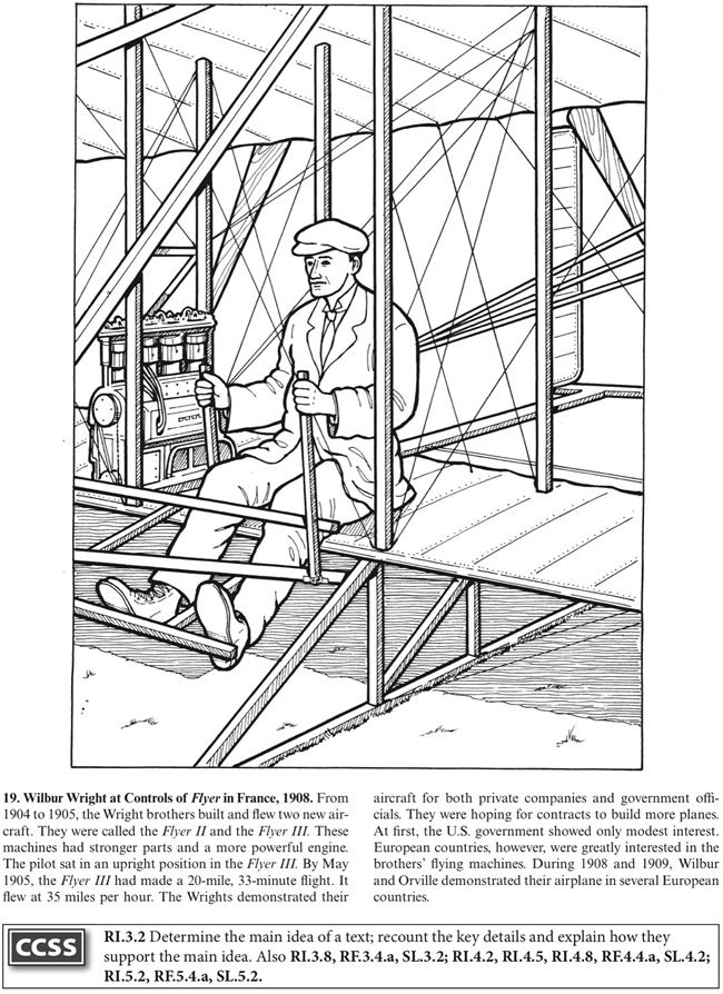 Boost The Story Of The Wright Brothers Coloring Book Dover