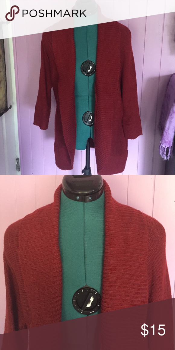 83c2ab034 Knitted red cardigan Long red knitted cardigan from forever 21 only ...