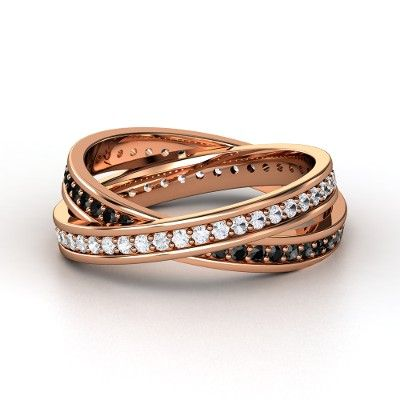 $3292 Brilliant Double Rolling rings 14K Rose Gold Ring with White Sapphire & Black Diamond  - lay_down