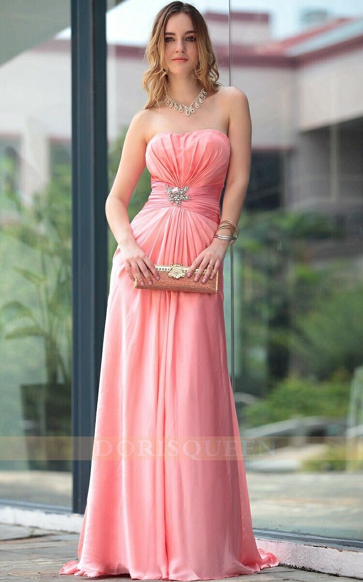 cute pink strapless long bridesmaid dresses 2014 | Barcelona series ...