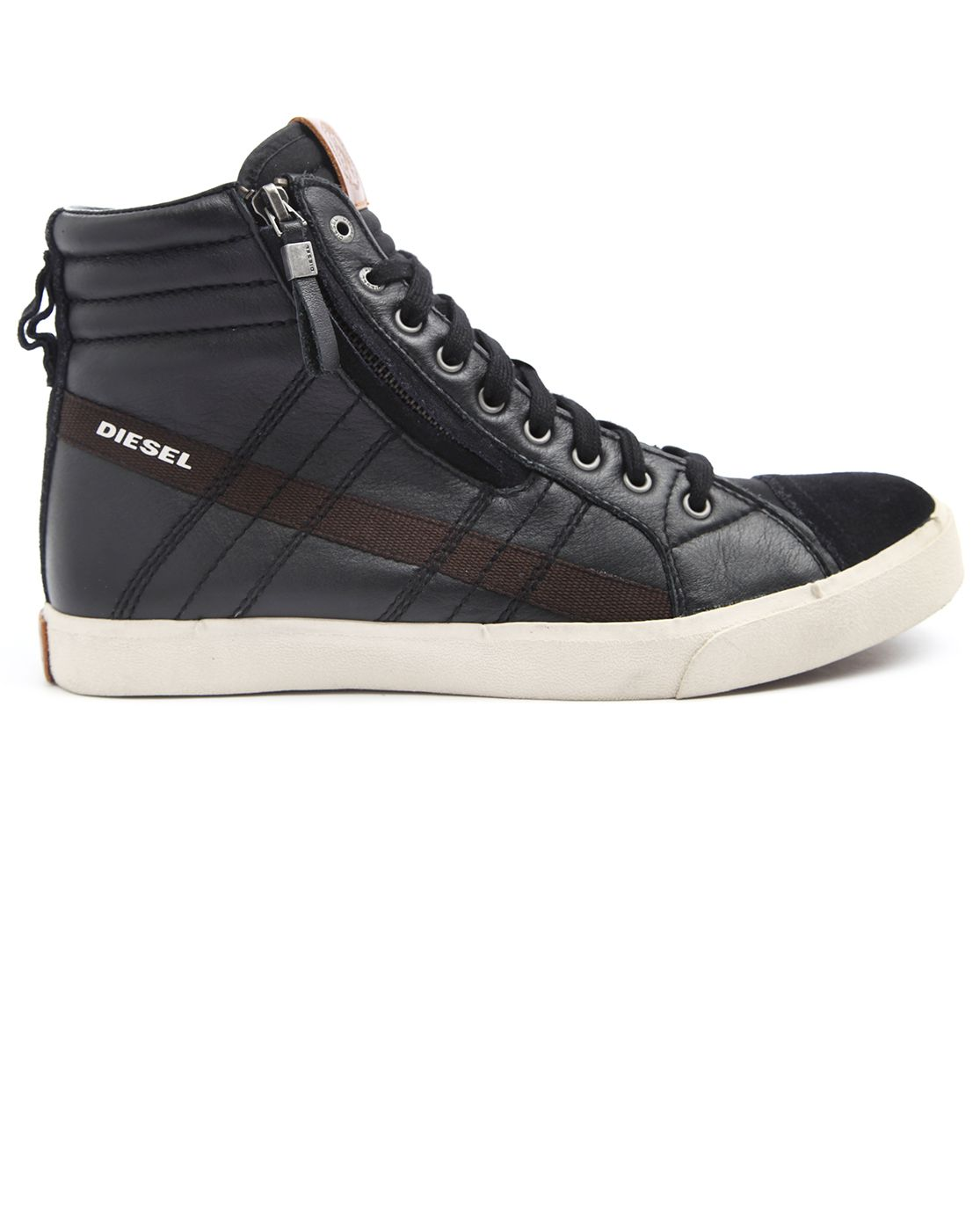 D-String Black Leather High-Top Sneakers   Exclusive Shoe Collection ... a31c08d8ecc3