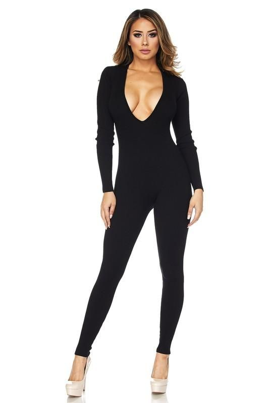ccf21d39a7 Long Sleeve V Neck Catsuit