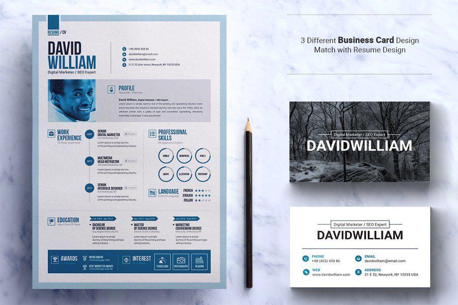 Word Resume Cv Template Design Job Cv Resume Template Business Card Design