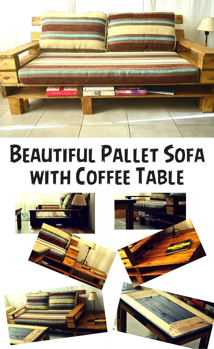 Diy pallet sofa with table 99 pallets - Beautiful Pallet Sofa With Coffee Table 99 Pallets