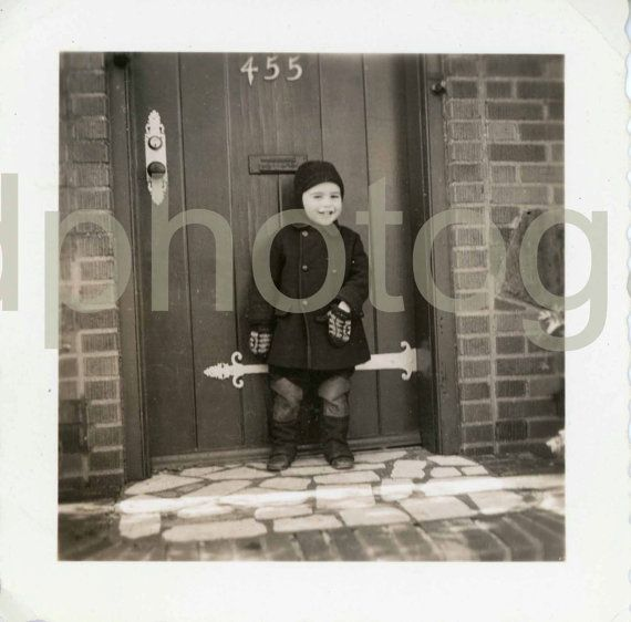 Vintage Photo Laughing Boy Little Boy Winter by foundphotogallery