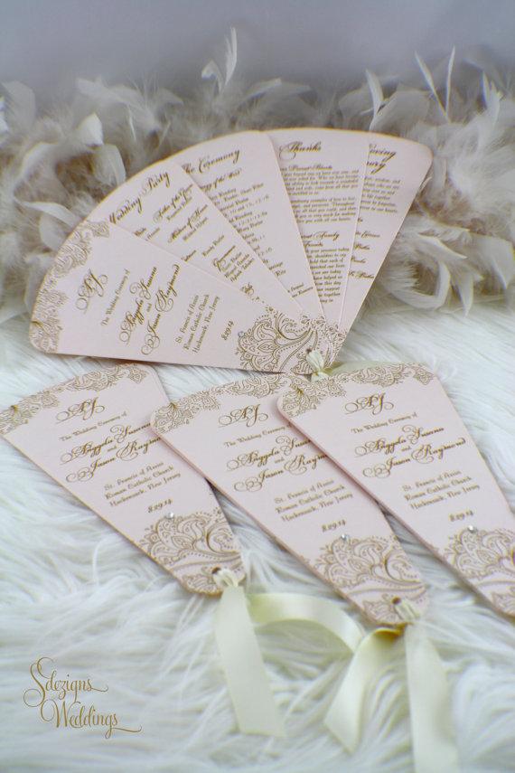 Gorgeous Vintage Feel - Fan Wedding Programs   Fan wedding programs ...