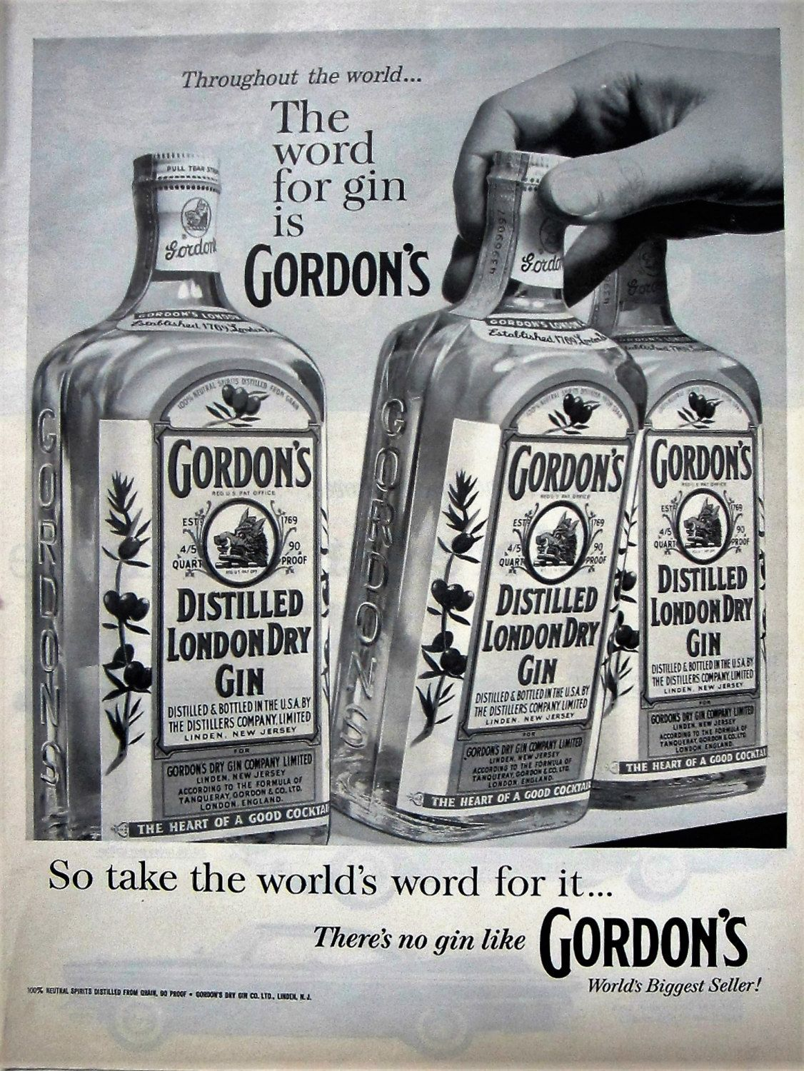 1960 Gordons Gin Vintage Advertisement Bar Wall Art Man Cave Decor Game Room Wall Hanging Original Magazine Print Ad Alcohol Ephem Gin Bottles Gordon S Gin Gin