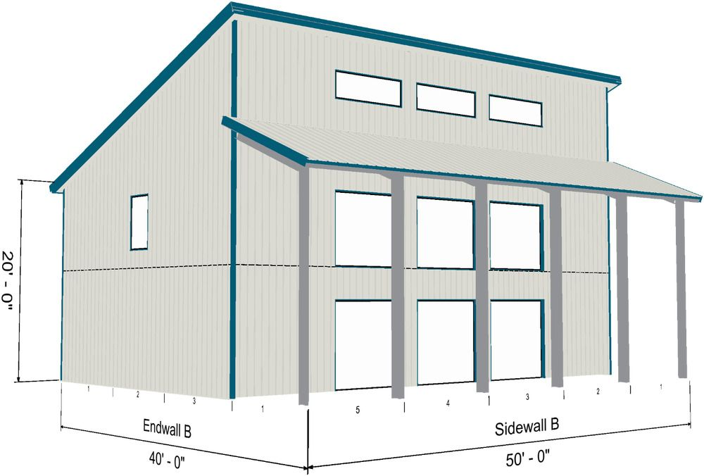 Single Slope Style Kit Overall Size 30 X 50 4 85 Roof Pitch 3000 Sq Ft Deck 1 10 X 50 Lean To Roof Over F Barn Style House Roof Architecture Steel House