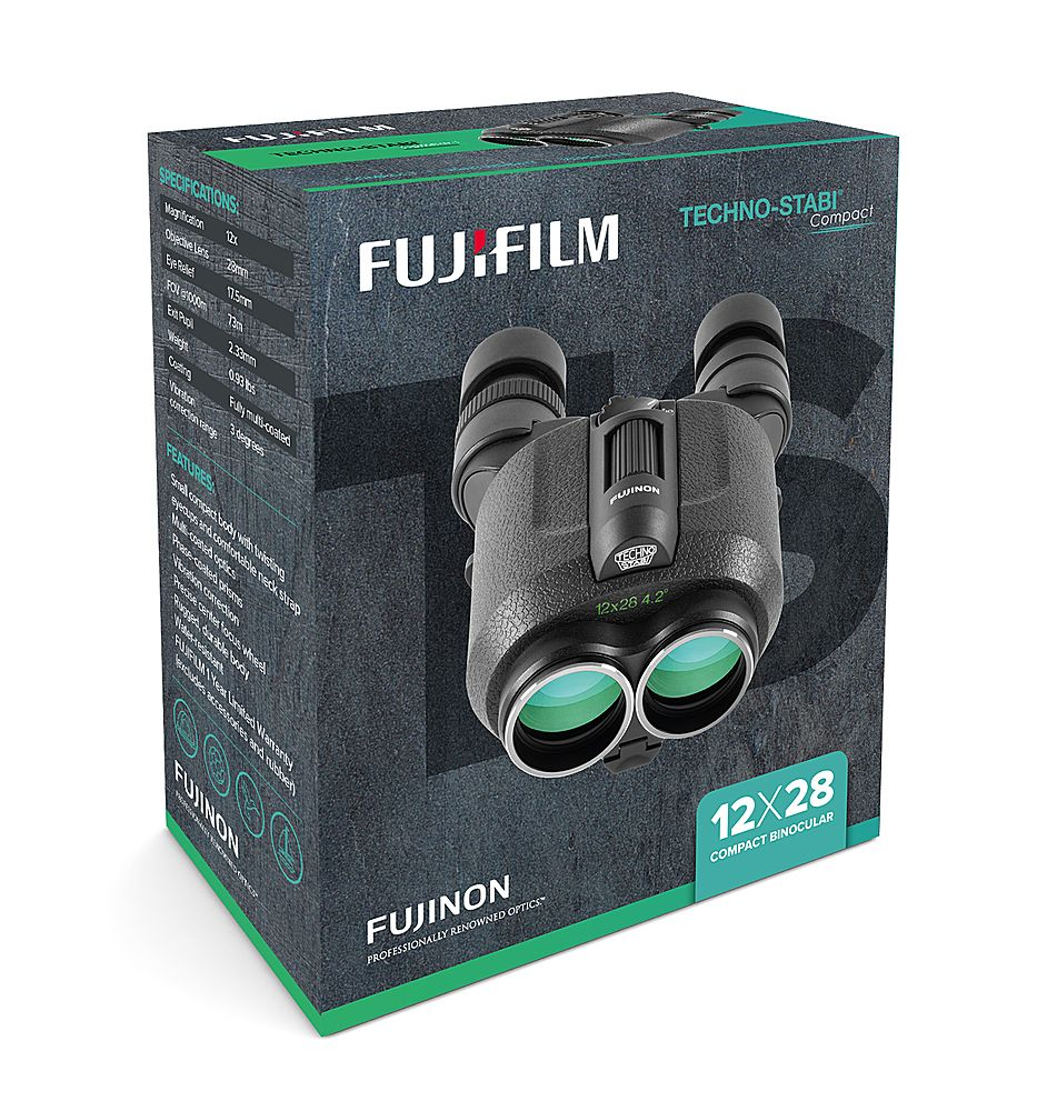 The Fujifilm Techno Stabi® 12x28 Compact Binoculars (Model 600019814) are high powered and stabilized, which offers unique performance when used from moving vehicles, vessels at sea or stationary. The compact, lightweight and ergonomic design is ideal for nature watching, sports, concerts and astronomical use where the user may want to utilize a higher magnification (12x) without a tripod. These image stabilizing binoculars lock in on the subject to create a stabilized field of vision at 12x mag
