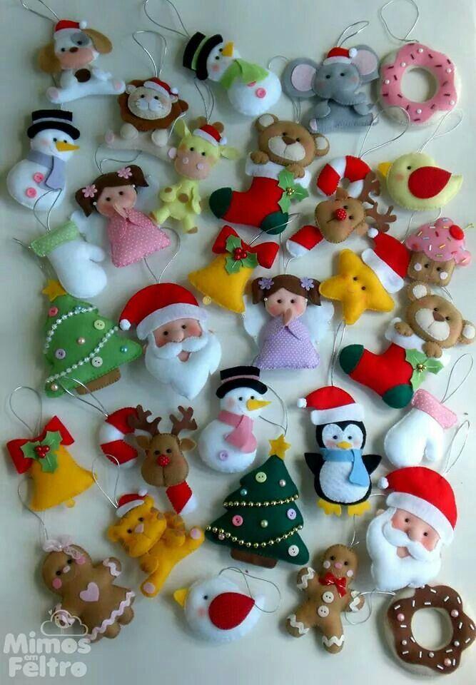 Pin de Evi en Xmas Pinterest Navidad Fieltro y Adornos