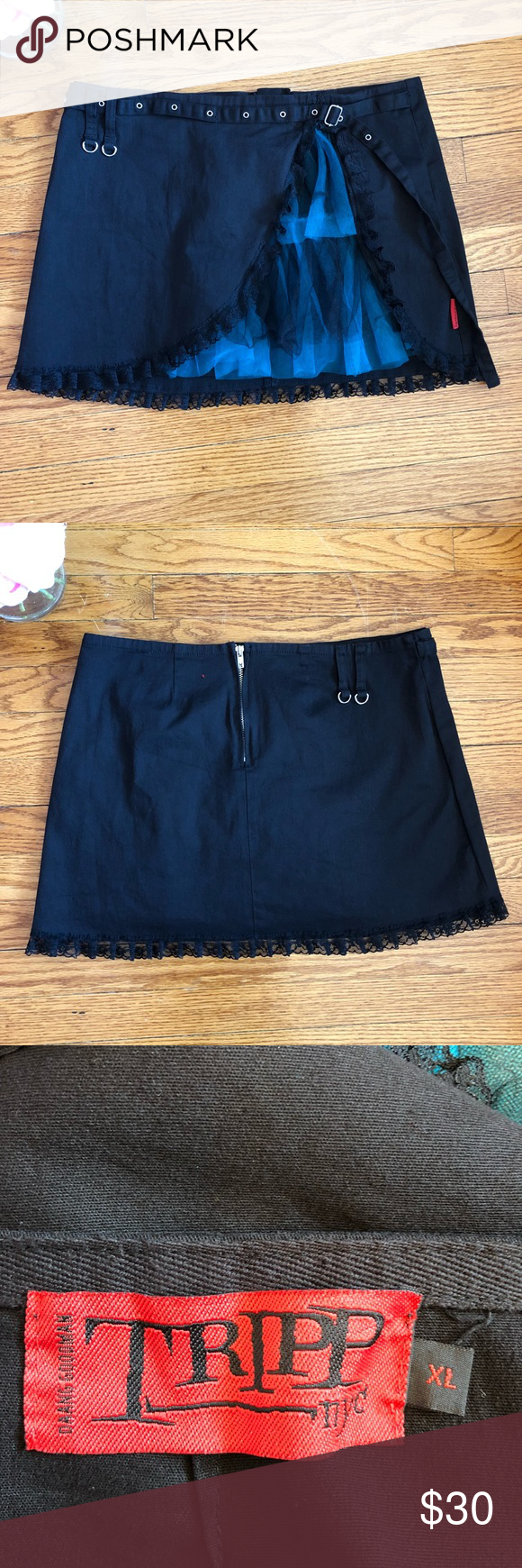 """Tripp NYC Tulle Lace Gothic Punk Festival Skirt Tripp NYC Skirt Black  Black Lace Black & Blue Tulle Silver Tone Hardware  Back Zipper Great for Concerts & Festivals Waist 17.5"""" Length 15"""" Good condition Tripp nyc Skirts Mini"""