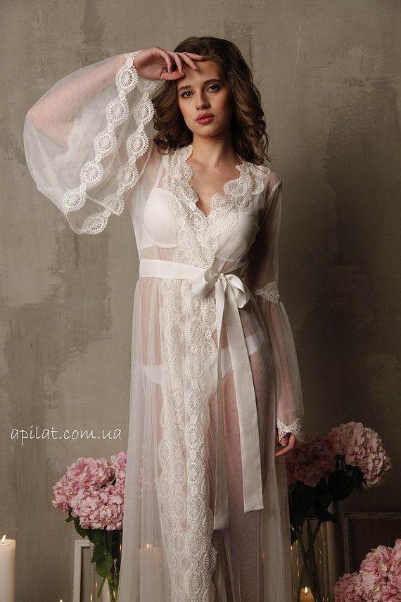 Lace-trimmed Tulle Bridal Robe F10(Lingerie, Nightdress), Bridal ...
