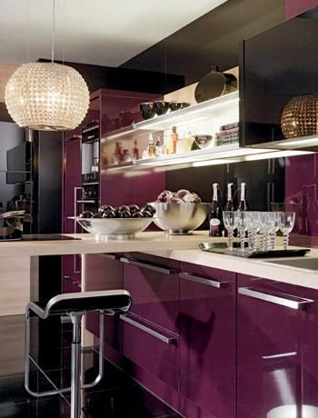 Rich Colours In A Kitchen Black Decor Purple Design