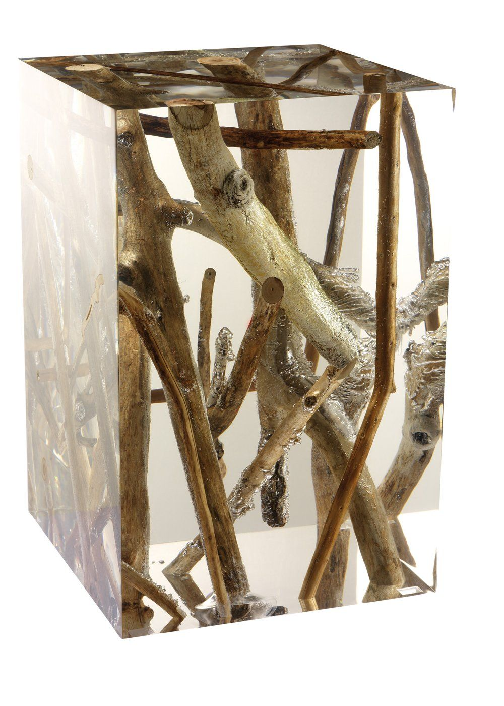 driftwood branches in acrylic side table by michael dawkins  - this acrylic table with driftwood branches by michael dawkins is justmagnificent what a showstopper
