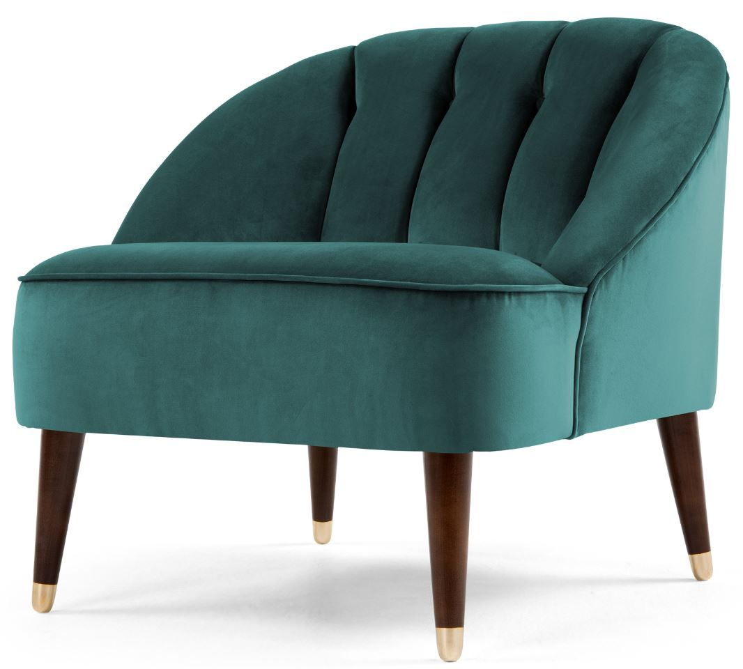 accent chair in peacock blue velvet, margot | peacock blue, blue
