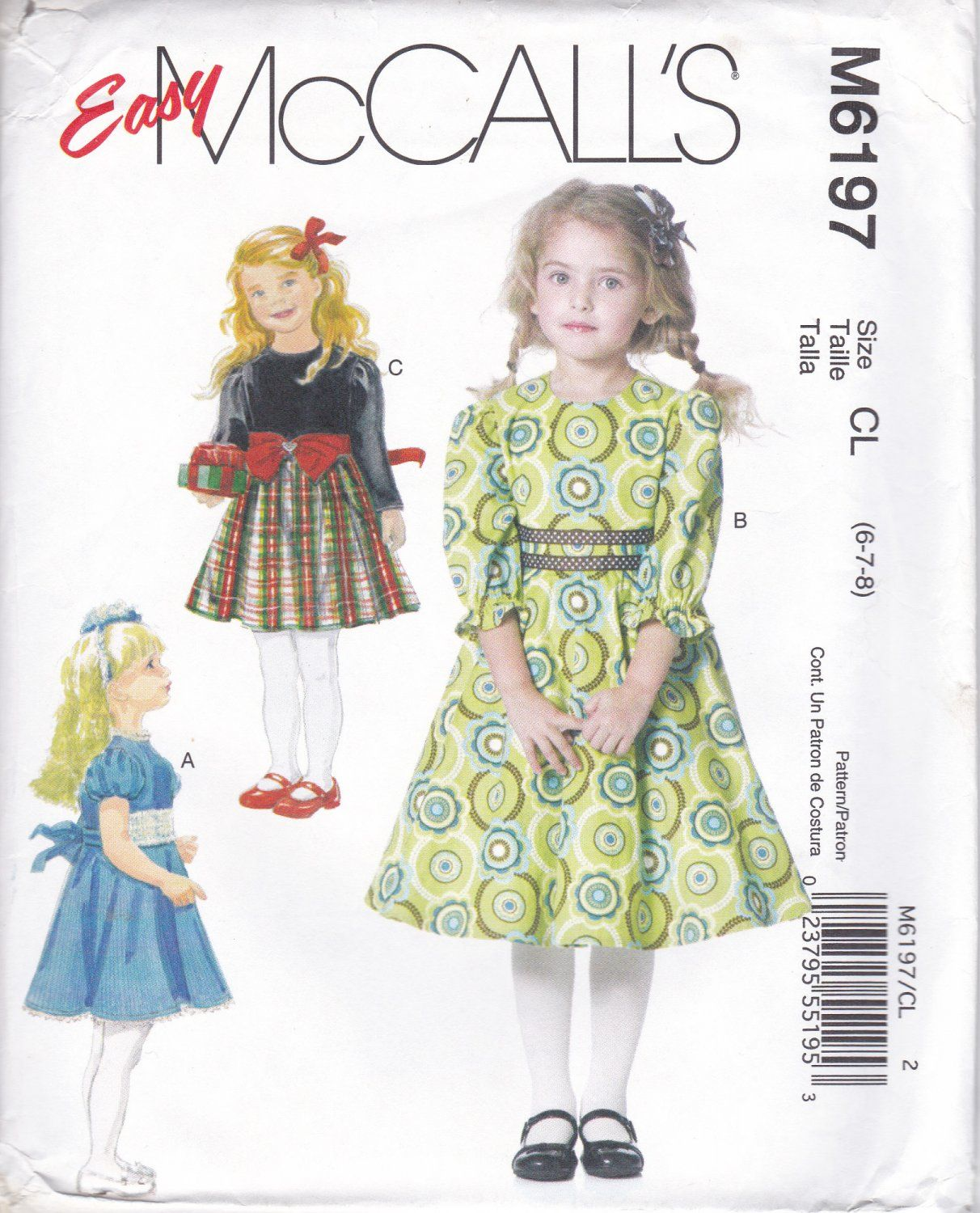 McCall\'s 6197 M6197 Girls Sewing Pattern Childrens Dresses Lined ...