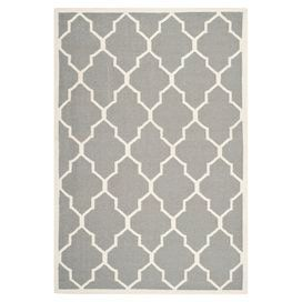 Flatweave Wool And Cotton Rug With A Trellis Motif Handmade In