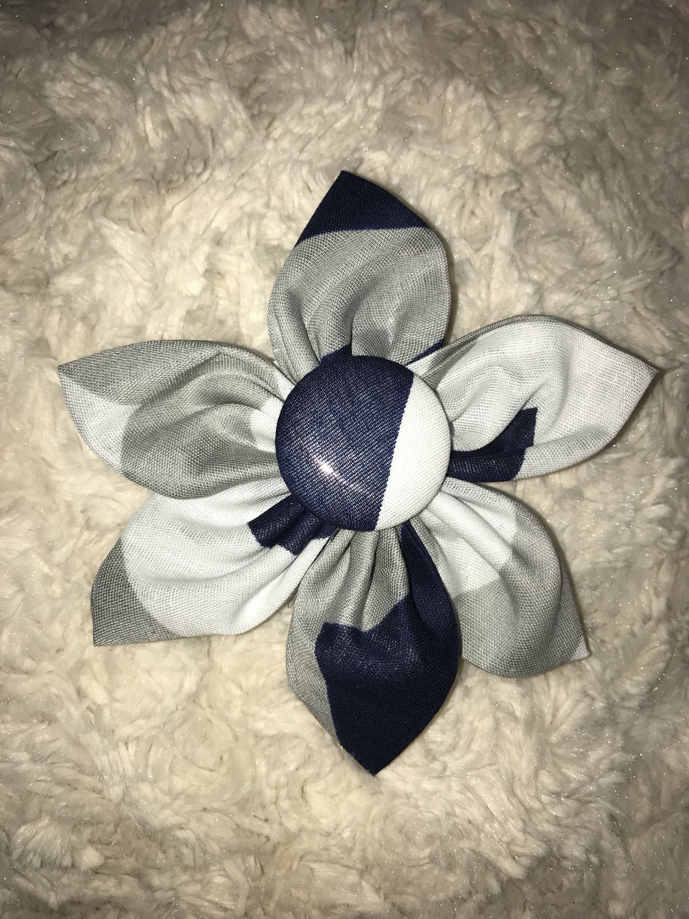 Dark Blue Gray And White Fabric Flower Headband Fabric Flower