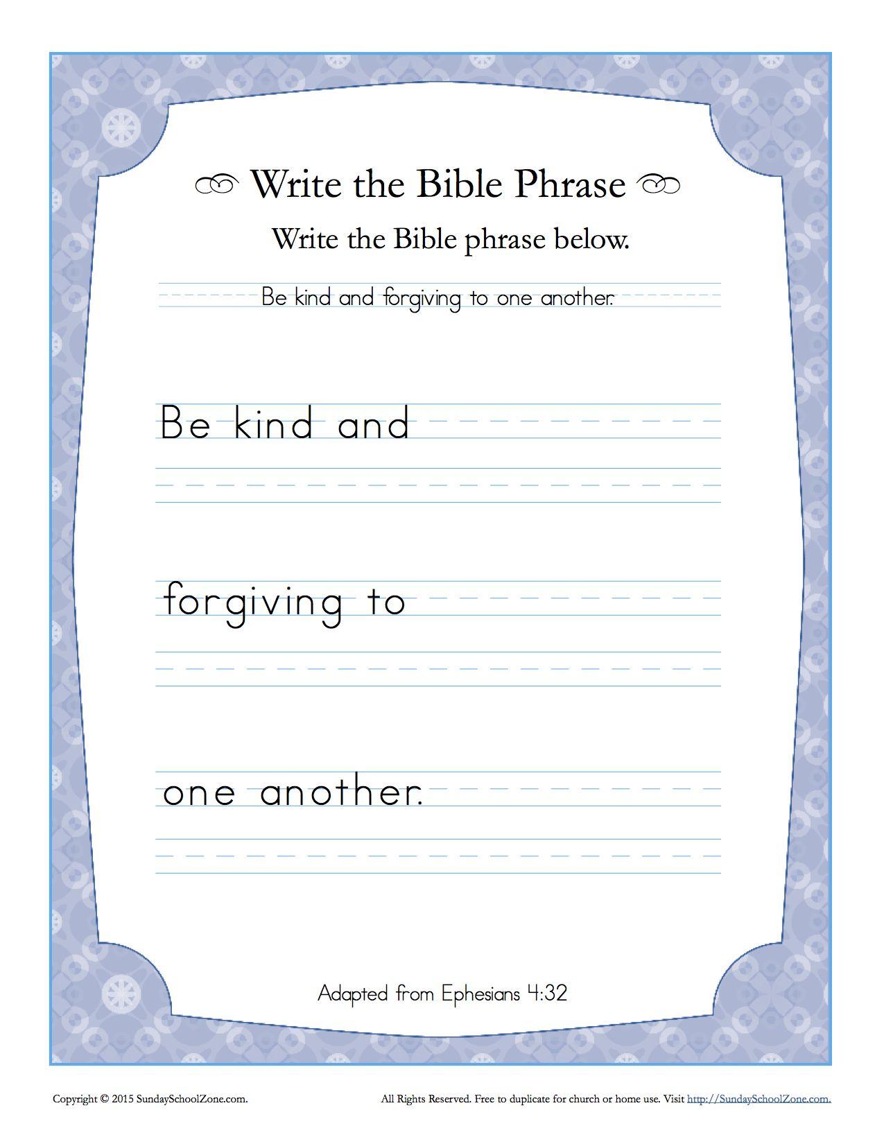 Ephesians 4 32 Write The Bible Phrase On Sunday School