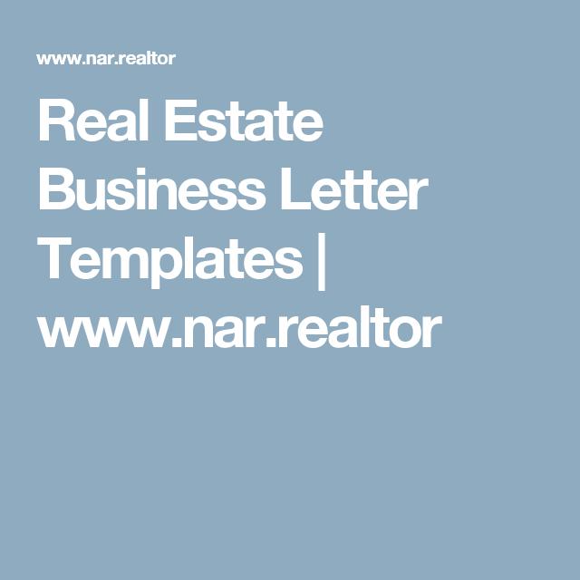 Real Estate Business Letter Templates  WwwNarRealtor  Get Rich