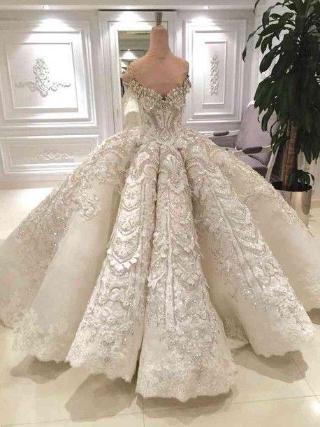 Dress White Wedding Dress Wedding Glitter Glitter Dress Princess