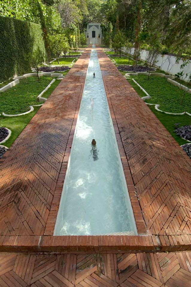 The Mughal Garden fountains and surrounding brick work ...