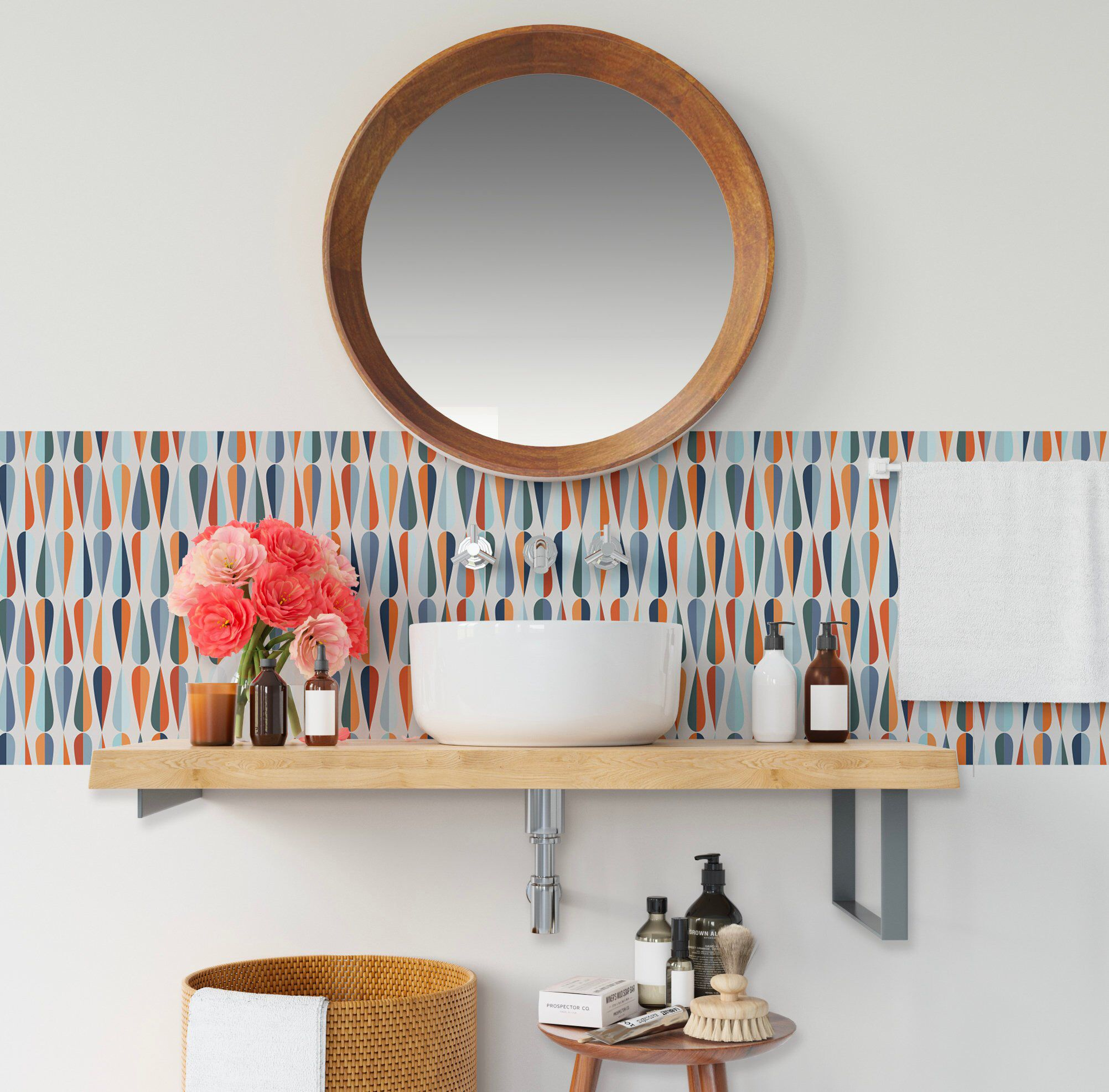 Mid Century Color Pattern Backsplash Kitchen Peel and